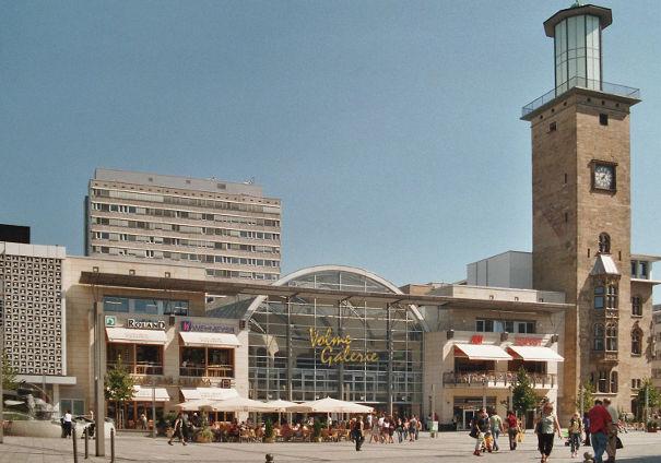 Der Rathausplatz in Hagen. wo das Mahngericht Hagen sitzt